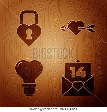 Set Envelope With Valentine Heart, Castle In The Shape Of A Heart, Heart Shape In A Light Bulb And A
