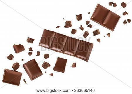Piece Of Chocolate Isolated On White Background With Clipping Path. . Top View With Copy Space For Y