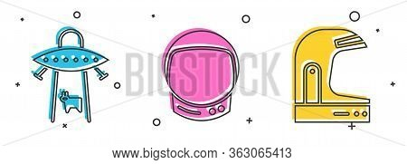 Set Ufo Abducts Cow, Astronaut Helmet And Astronaut Helmet Icon. Vector