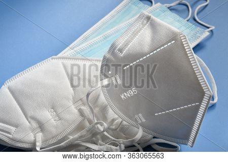 White Kn95 Or N95 Mask With Antiviral Medical Mask For Protection Against Coronavirus. Surgical Prot