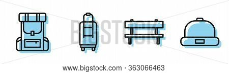 Set Line Bench, Hiking Backpack, Suitcase And Beanie Hat Icon. Vector