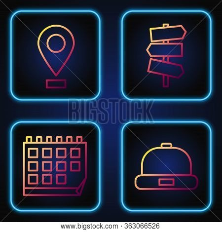 Set Line Beanie Hat, Calendar, Location And Road Traffic Signpost. Gradient Color Icons. Vector