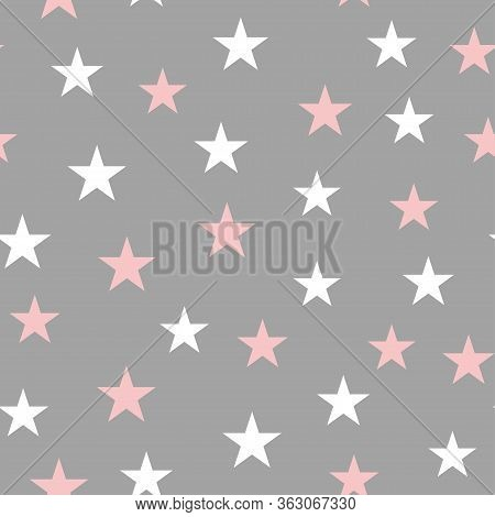 Seamless Background In A Childish Style With Stars. Vector Illustration