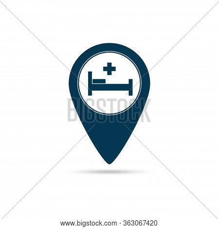 Map Pointer With Hospital Cross Icon Isolated On White Background. Vector Illustration