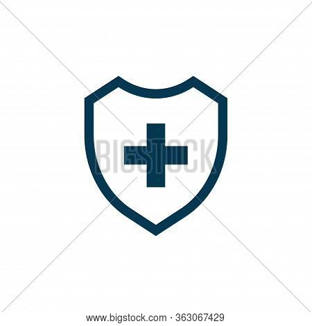 Shield With Cross Icon Isolated On White Background. Vector Illustration