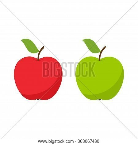 Red And Green Apple Icon Isolated On A White Background. Vector Illustration