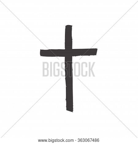 Christian Cross Icon Isolated On White Background. Christian Symbol Vector Illustration
