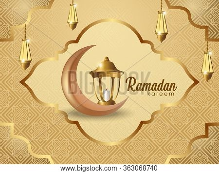 Ramadan Kareem Background. Ramadan Kareem Vector, Vector Moon, Realistic Moon, Lantern Realistic Isl