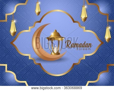 Greeting Card Design For Eid Al Adha And Iftar With Arabic Text Blessed Feast Or Festival. Decoratio