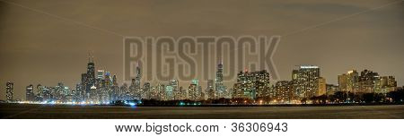 Chicago Skyline Panorama At Night
