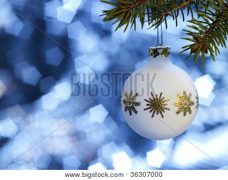 White Christmas Bauble In Blue Back
