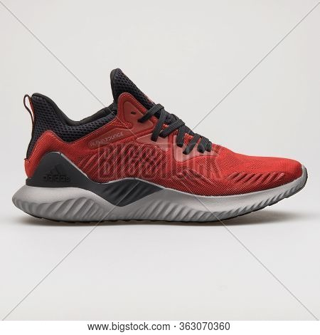 Vienna, Austria - February 14, 2018: Adidas Alphabounce Beyond Red, Black And Grey Sneaker On White