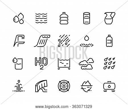 Water Line Icons. Bottle And Glass Of Liquid, Rain Drops Clouds And Shower, Water Sources Such As Ic