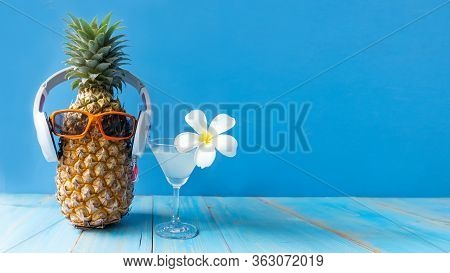 Summer In The Party.  Hipster Pineapple Fashion In  Music Bright Beautiful Color In Holiday, Creativ