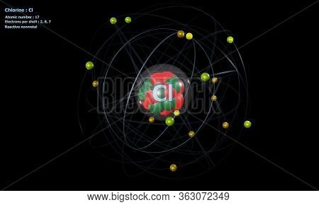 3d Illustration Of Atom Of Chlorine With Core And 17 Electrons With A Black Background