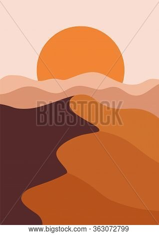 Desert Landscape In A Vertical Format, Warm Beige Colors. Vector Illustration With Sunset In Mountai