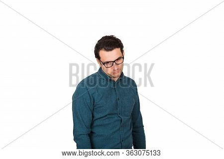 Tired And Annoyed Businessman Makes A Displeased Facial Expression, Isolated On White Background. Di