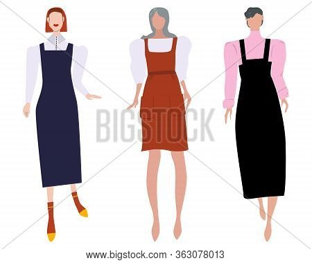 Group Of Females Street Style Characters Collection Wearing Pinafore Dress Different Length. Girls M