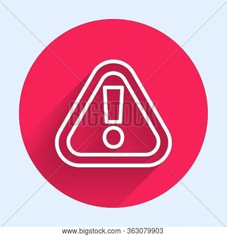White Line Exclamation Mark In Triangle Icon Isolated With Long Shadow. Hazard Warning Sign, Careful