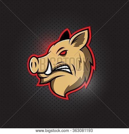 Wild Hog, Pig Or Boar Head Mascot Logo