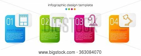 Set Line Wardrobe, Wooden Table, Table Lamp And Table Lamp. Business Infographic Template. Vector