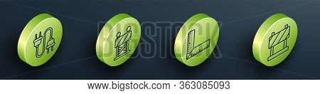 Set Isometric Electric Plug, Road Barrier, Corner Ruler And Road Barrier Icon. Vector