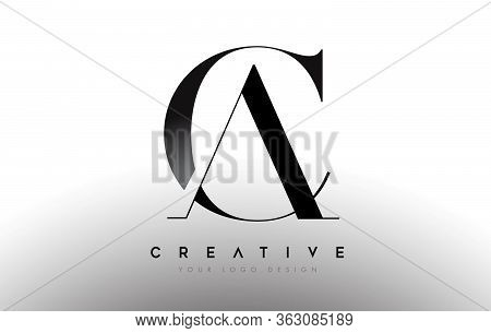 Ca Letter Design Logo Logotype Icon Concept With Serif Font And Classic Elegant Style Look Vector