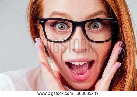 Annoying Redhaired Ginger Woman Feeling Irritation And Anger Studio Background