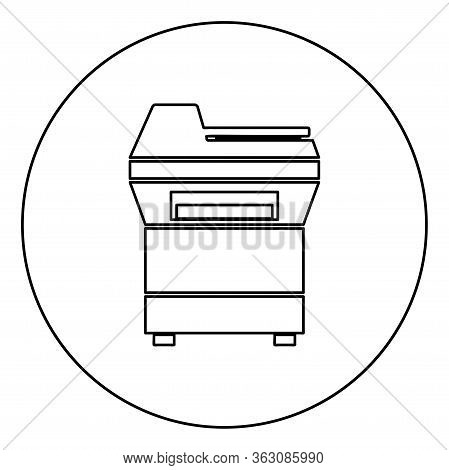 Copy Machine Printer Copier For Office Photocopier Duplicate Equipment Icon In Circle Round Outline