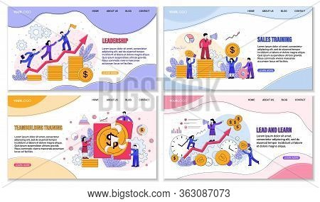 Four Different Sales Training Courses Posters Or Designs Showing Money And Finances With Emphasis On