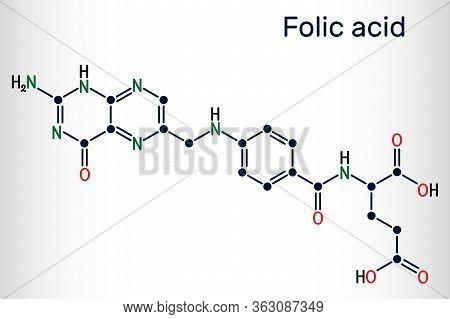 Folic Acid, Folate Molecule. It Is Known As Vitamin B9. Skeletal Chemical Formula