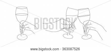 Hands Holding Glasses Of Wine And Champagne. Cheers Gesture With Wine, Ink Line Sketch Collection Is