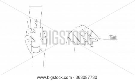 Illustrations Of Hand Holding Toothpaste And Toothbrush With Paste On It, Dental Hygiene, Line Reali