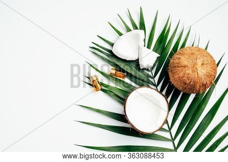 Natural Coconut Oil For Hair, Spa Organic Cosmetic Concept. Flat Lay, Top View Tropical Palm Leaf, C