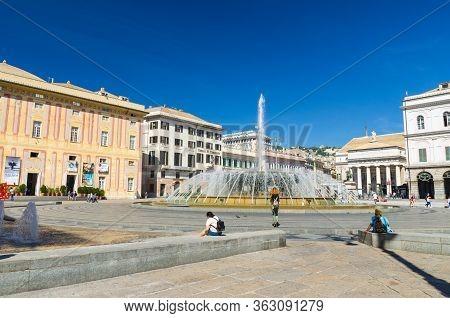Genoa, Italy, September 11, 2018: Piazza Raffaele De Ferrari Square With Fountain, Palazzo Ducale Do