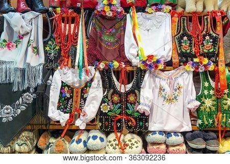 Krakow, Poland - May 13, 2019: Souvenir Shop Selling Traditional Polish Handicraft Souvenirs In Suki