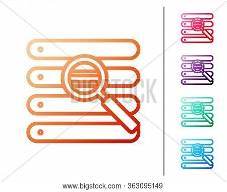 Red Line Search In A Browser Window Icon Isolated On White Background. Set Color Icons. Vector Illus