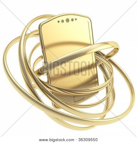 Smart Phone Concept Surrounded With Rings Isolated