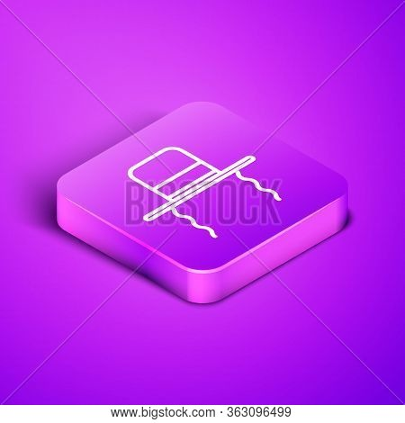 Isometric Line Orthodox Jewish Hat With Sidelocks Icon Isolated On Purple Background. Jewish Men In