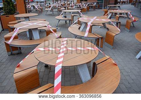 Outdoor Cafe/restaurant Is Closed For Quarantine During Coronavirus Epidemic. Access To Restaurant,