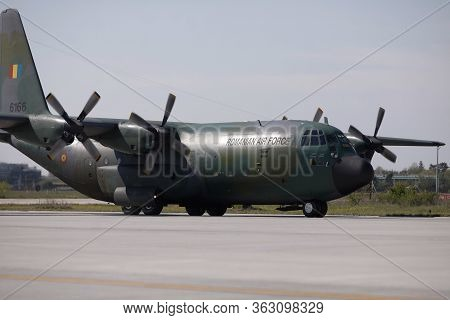 Otopeni, Romania - April 25, 2020: Lockheed C-130 Hercules Military Cargo Plane Of The Romanian Air
