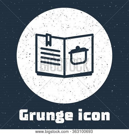 Grunge Line Cookbook Icon Isolated On Grey Background. Cooking Book Icon. Recipe Book. Fork And Knif