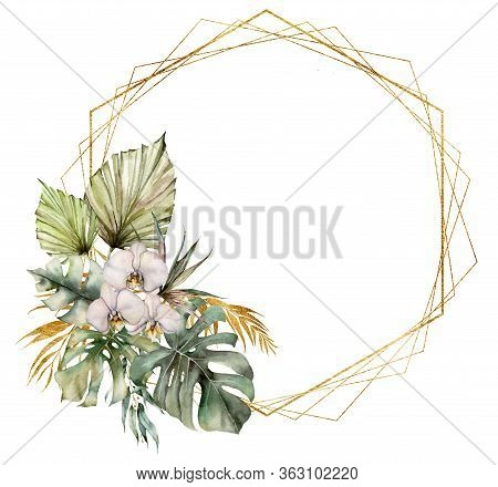 Watercolor Polygonal Frame With Orchids And Golden Leaves. Hand Painted Tropical Card With Flowers A