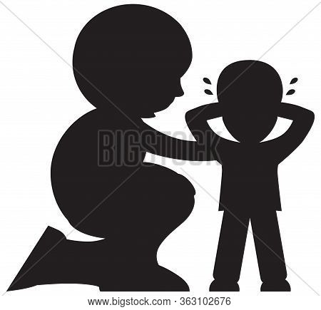 A Cartoon Mother Is Comforting Her Child In Silhouette