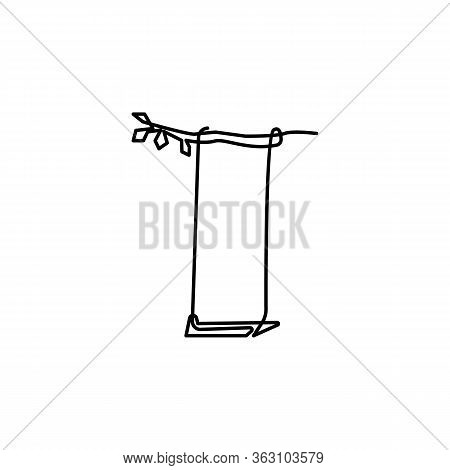 Swing One Line Icon On White Background