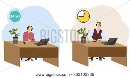 Call Center. The Call Center Operator Is Sitting At The Table. Customer Support Center. Vector Illus