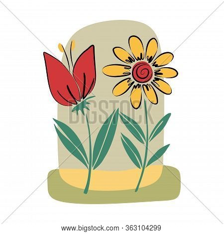 Tropical Collection With Exotic Flowers And Leaves. Vector Design Isolated Elements On The White Bac