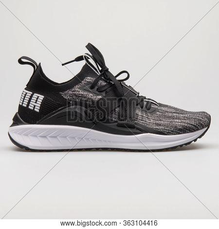 Vienna, Austria - February 14, 2018: Puma Ignite Evoknit Low 2 Black And White Sneaker On White Back