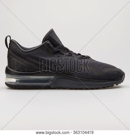 Vienna, Austria - February 14, 2018: Nike Air Max Fury Black Sneaker On White Background.