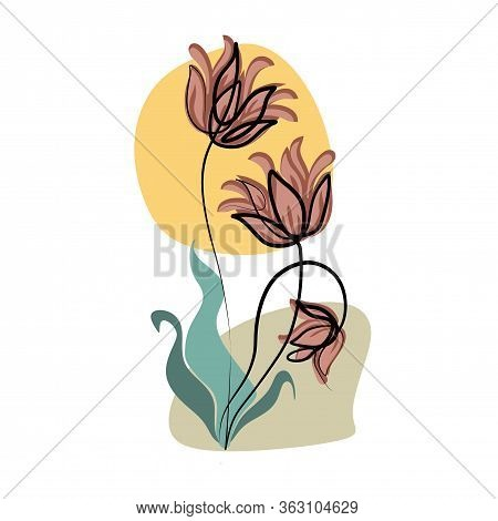 Bird Of Paradise Flower One Line Drawing. Editable Line. Minimal Abstract Art. Exotic Flower In One